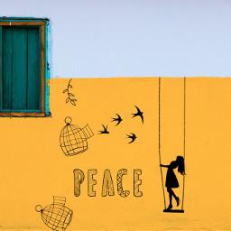 freetoedit peace birds swing girl