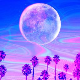 freetoedit holographicbackgrounds vaporwave curvestool moon