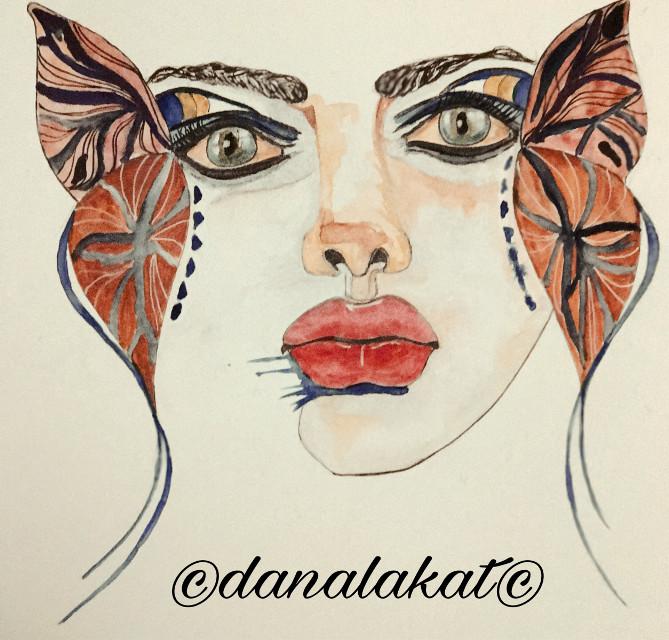 Progress on ~ Metamorphasis 3~ Inks and watercolor on cold press paper. #wip #wip_onprogress #artinprogress #art #drawing #painting #ink #watercolor #portrait #portraitpainting #watercolorpainting #artist #danalakat #artwork2017