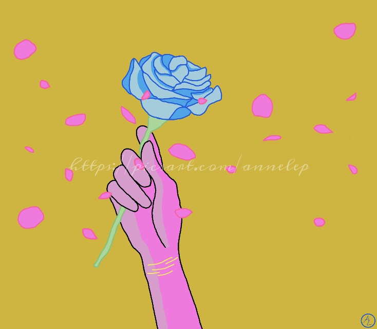 """""""I brought you a gift, to cheer you up!""""  #drawing #digitaldrawing #saturated #oversaturated #rose #flower #petals #wind #colourful #hand #blue #gift"""