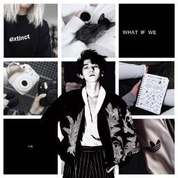 baekhyun exo black white aestgetic