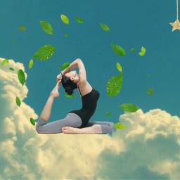 freetoedit yogagirl yogalife yodastickerremix sky