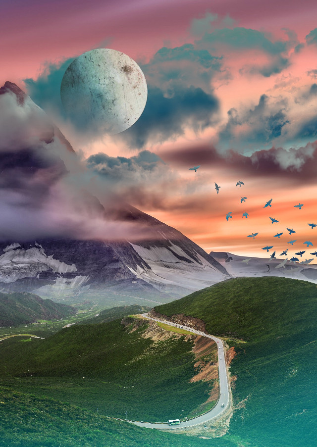 #freetoedit #landscape #nature #hills #road #mountain #moon #clouds #colorful #edited #myedit #madewithpicsart