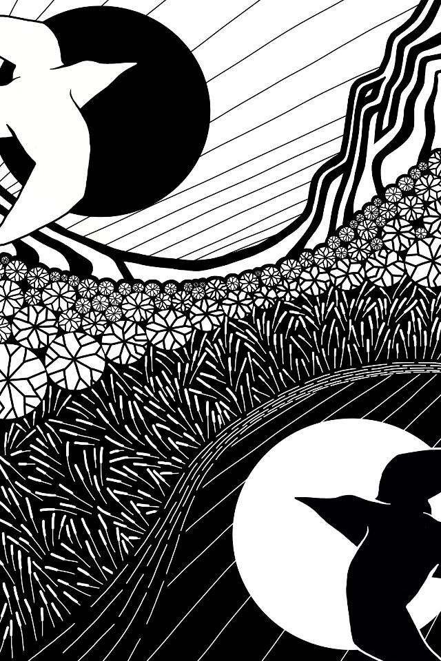 East and West  #drawing #noedit #carryakroydhomage #blackandwhite #landscape #birds #moonlight #negativespace  #freetoedit