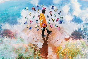 freetoedit drawing colorful boy paperplanes