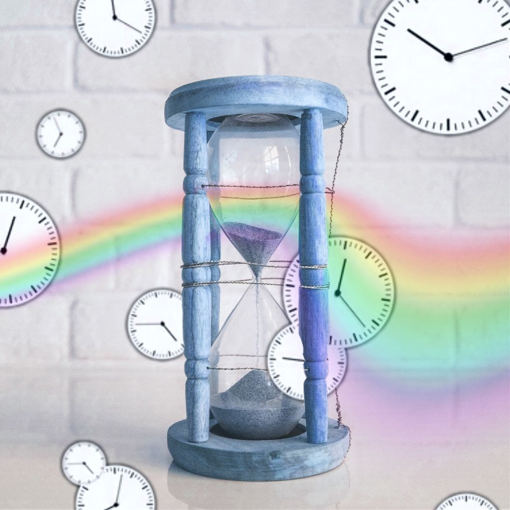 #freetoedit a kind of unconventional approach... #VIPchallenge #vipchallenge #clocks #waiting #clock #hourglass #time #rainbowlight