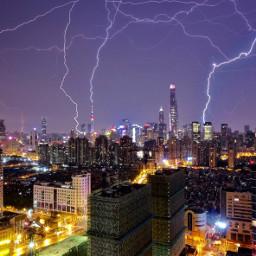 shanghai skyscrapers skyline lightening thunder