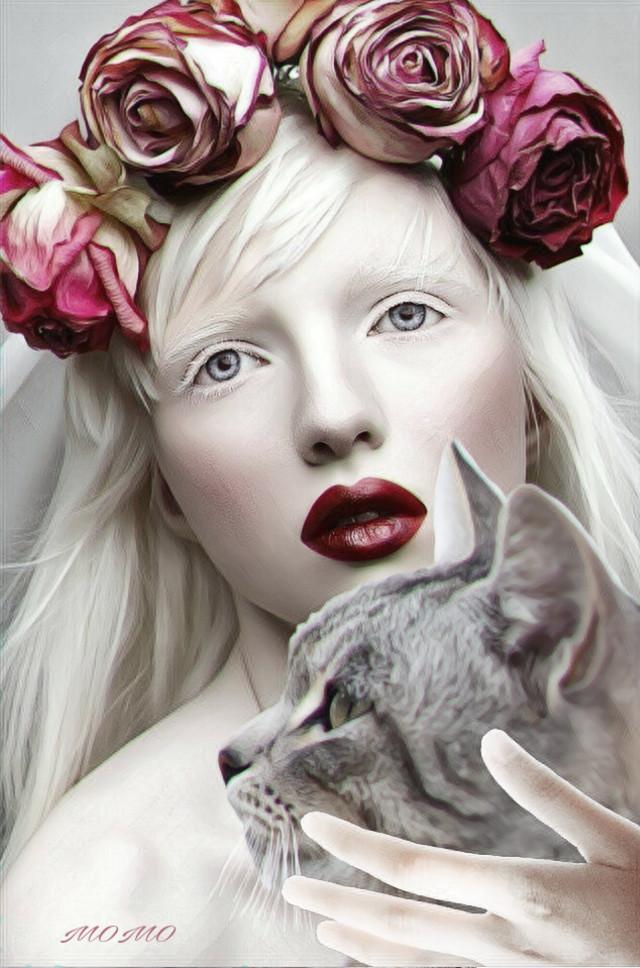 #catdayremix #womanportrait
