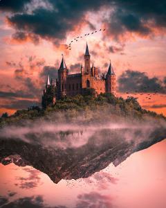 freetoedit picsart up_side_down doubleexposure castle