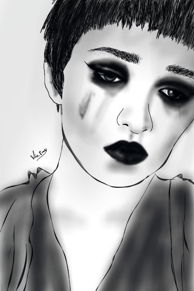 #blackandwhite #drawing #face practicing ....😥