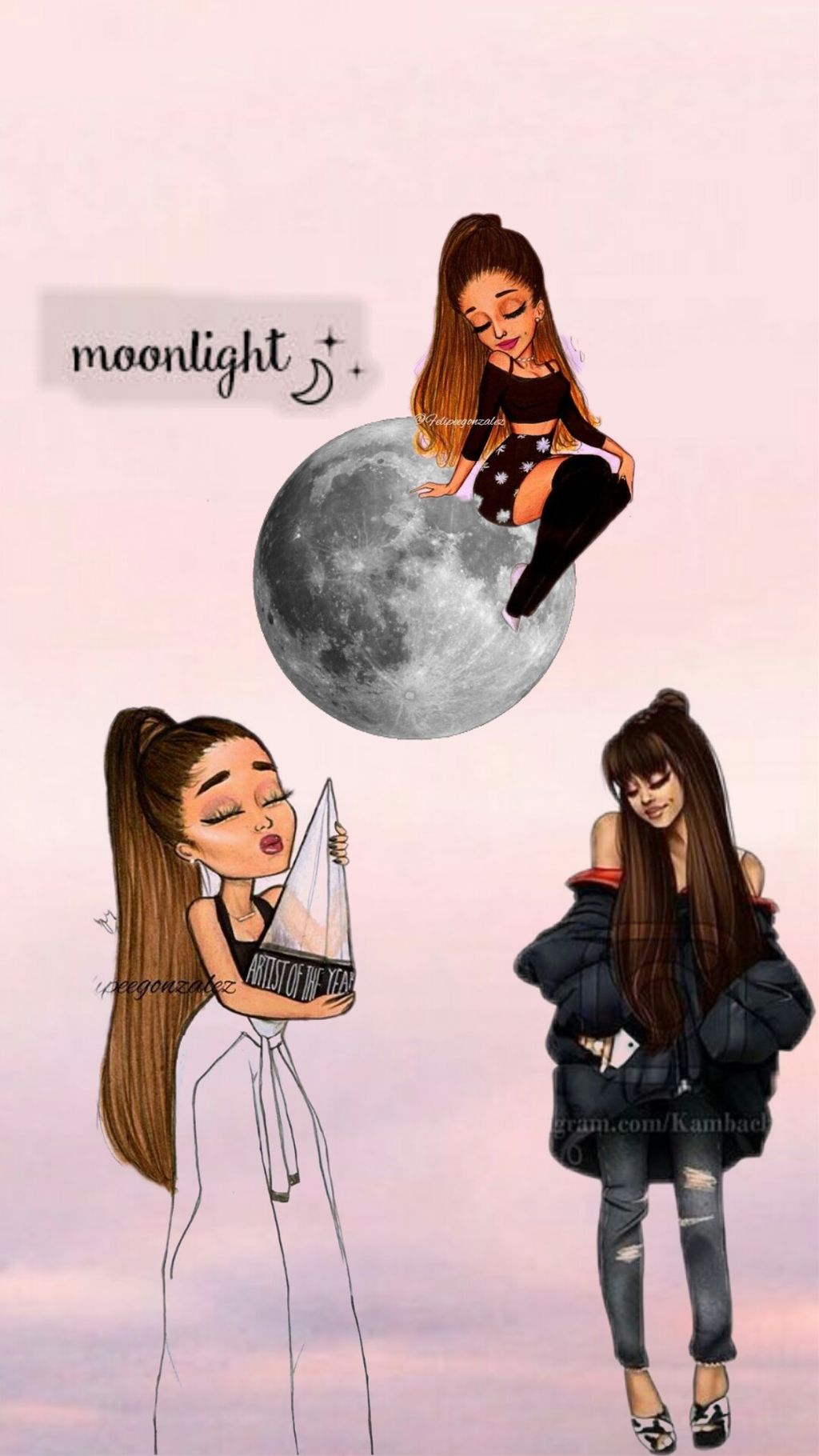 #ari #ariana #grande #wallpaper #lockscreen #homescreen #moonlight