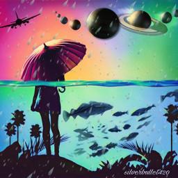 colorfulworld rain water fish planets