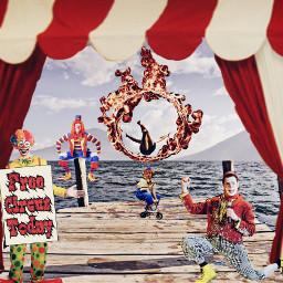 freetoedit circus clowns ringoffire minicycle