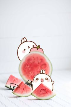 freetoedit watermelon rabbit