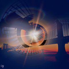 freetoedit bridge sunset mytinyplanet water