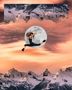 freetoedit surreal mountains moon girl