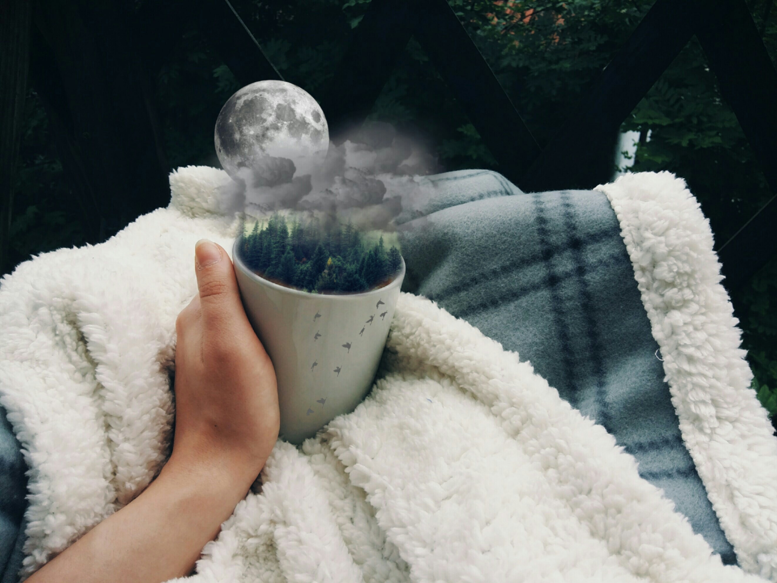 Follow me on instagram: iyukihana#photography #editedwithpicsart #coffee #moon #cup #hand #blanket #serenity #trees #colorful #relaxing #clouds