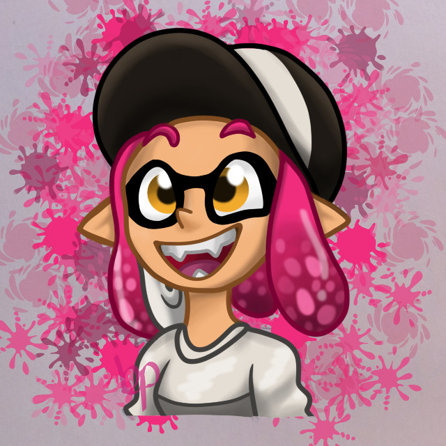 Inkling girl print. Hopefully I can print this out as a keychain to sell them. For sure I'm making this, plus some others, as keychains for my own use because I love splatoon. #splatoon #splatoon2 #inklinggirl #digitalart