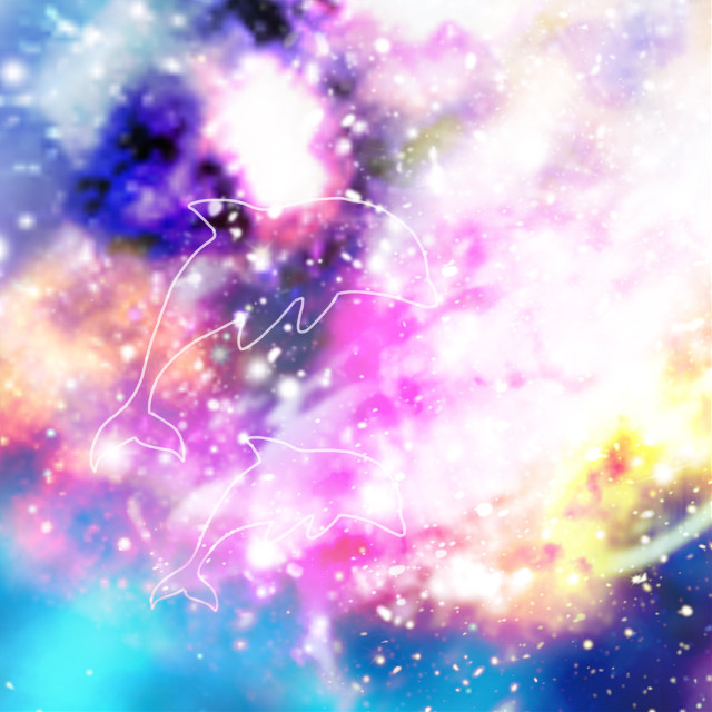 I really love using this galaxy trick! #galaxy #dolphin #sketched