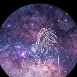 freetoedit circle galaxy girl sketched