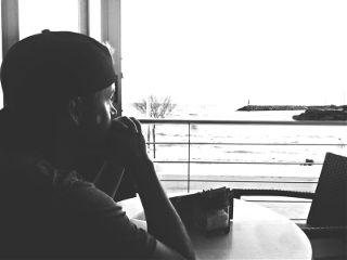 pensive sea blackandwhite