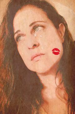 freetoedit kissstickerremix tears papereffect sadness