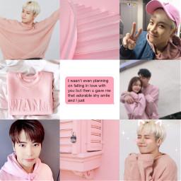 got7 pastel pink aesthetic moodboard jacksonwang