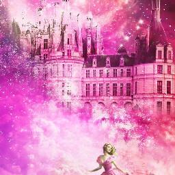 pinkcloudstickerremix freetoedit cinderella pink castle