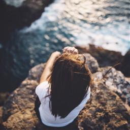 woman girl sea ocean blue freetoedit