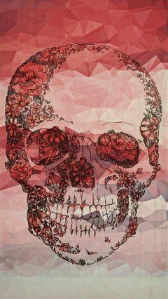 freetoedit skull geometricpatterns coral pink