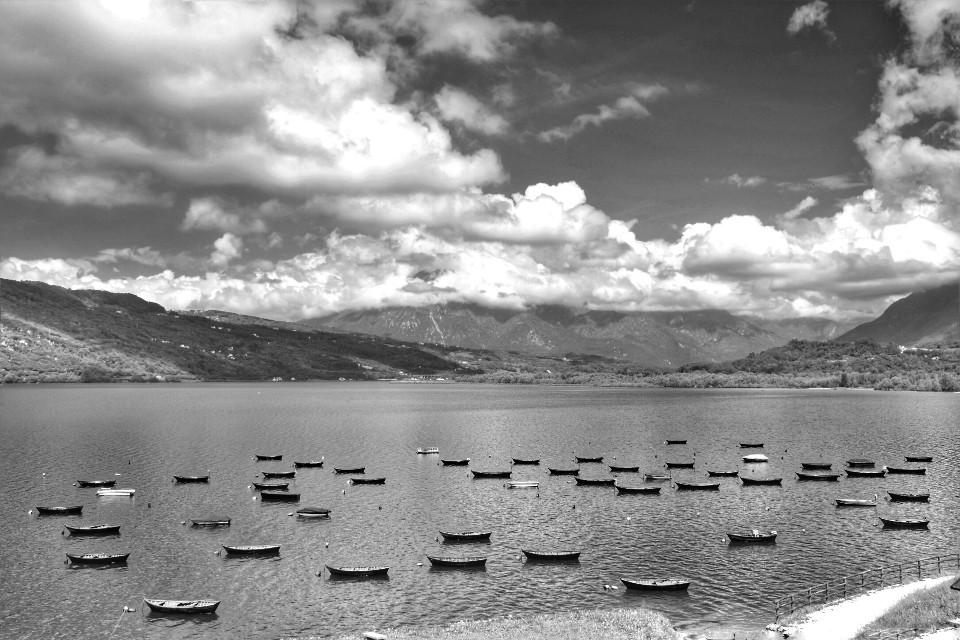 #blackandwhite #lake #boats