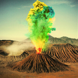 freetoedit surreal color volcano volcan