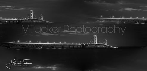 blackandwhite photography michigan mackinacbridge nightphotography
