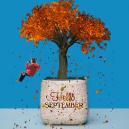 freetoedit helloseptemberstickerremix tree swing leaves