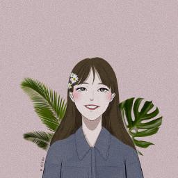 freetoedit smile life sunshine girl illustration painting portrait cute lovely
