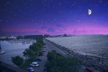 moon stars night water space