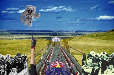 freetoedit spaceman rollercoaster crowd surrealism