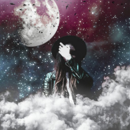 freetoedit moon stars sky clouds