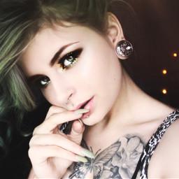 freetoedit greeneyes greenmakeup greenhair tattooed