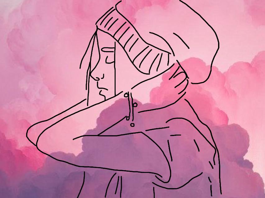 #freetoedit #girl #sketched #pink #cluds #tumblrgirl