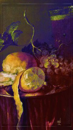 stilllife zitrone antique painting lemon