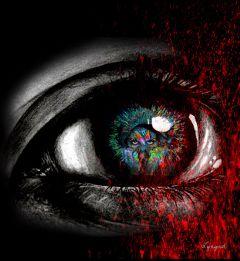 freetoedit blackandwhite colour surrealart eye