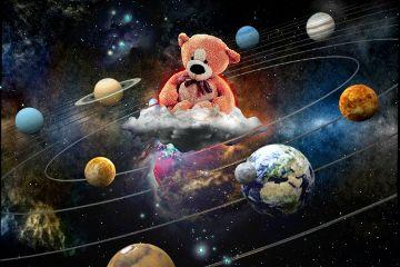 edited doubleexposure bear galaxy myteddybear freetoedit