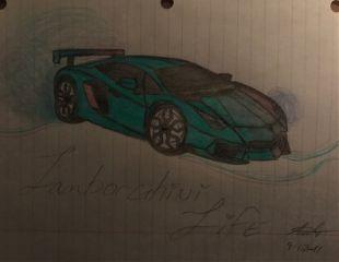 car drawing sketch lamborghiniaventador myart