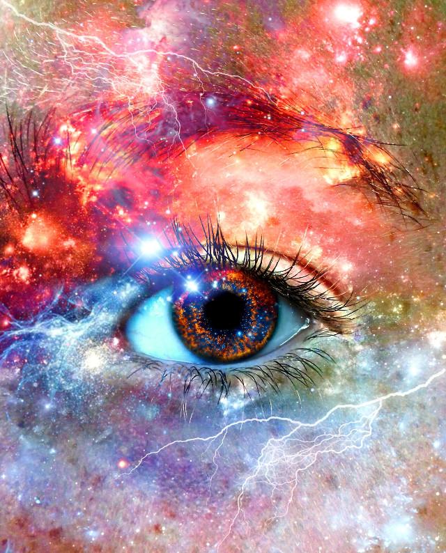 #eye #face #stars #specs #pupil #galaxy #colorful #lightning #lightningbolts #overlay #closeup #photography #pa #picsart