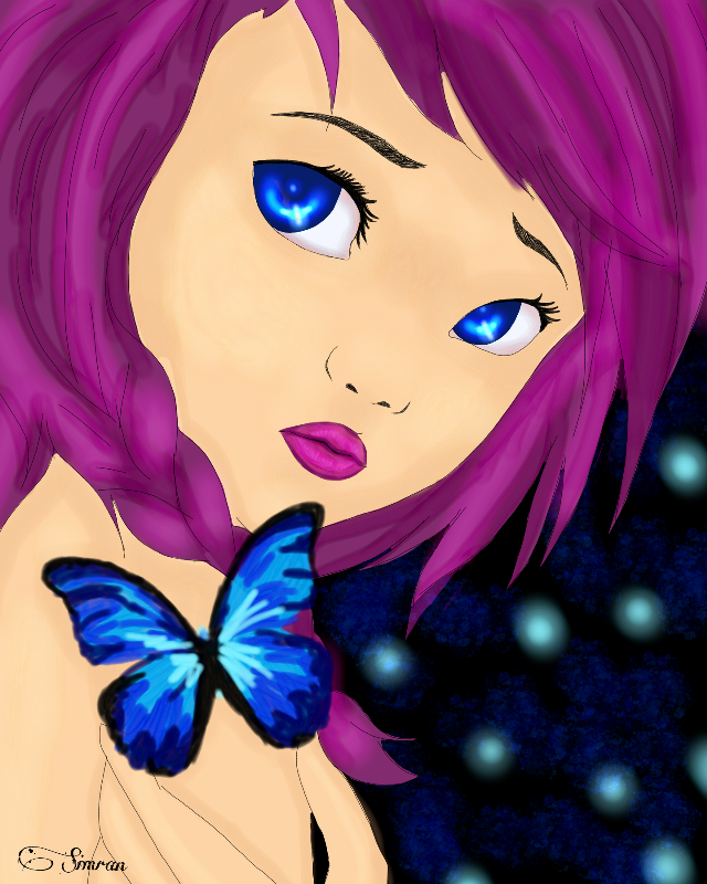 My new painting...😊😊😊 Enjoyed making this one.       #wdpfairies  #fairy #girl #magic #butterfly #purple #violet #hair #dyedhair #blue #blueeyes #anime #animegirl #background #neon #bright #lips #purplelipstick #purplelips #girlish #bluebutterfly @pa @freetoedit @dream_catcher_1186 #referencefrominternet #webimagereference #bokeh #blur #shine #glitteryeyes #shinyeyes #wdpemotions #wdpbutterflies #wdpangels #dcmyimaginaryfriend #myimaginaryfriend