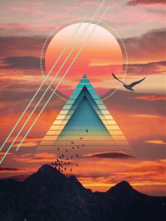 freetoedit shapes triangles sun mountains