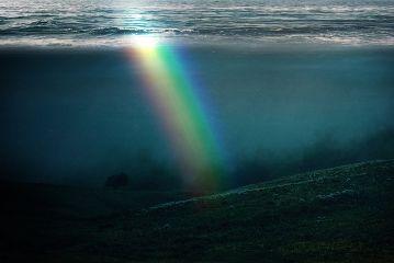 freetoedit mysteriouslandscape rainbow ocean water