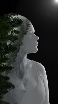 freetoedit doubleexposure trees forest woman