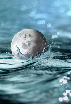 freetoedit moon water splash surreal